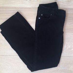J Crew boot cut black corduroy jeans petite size 2